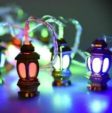 Ramadan Eid Mubarak Decorative 14' Multi Color USB LED Gold Lantern Light Decor