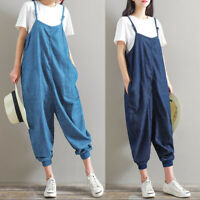 Women Solid Baggy Dungarees Ladies Casual Party Playsuits Suspenders Overalls