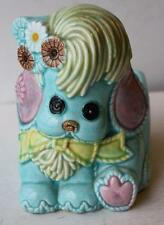 Puppy Dog Lefton Baby Blue Planter H6818 Mod-Retro w-Flowers-Pink-Blue-Yello w