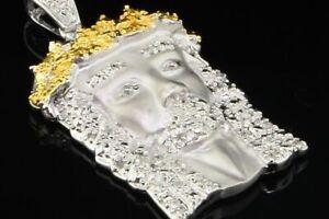 10k White Gold White & Yellow Diamond Mini Jesus Piece Head Cross Pendant .50 Ct