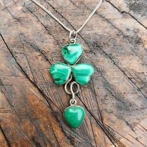 Antique Victorian Lucky Clover Pendant - Silver - Malachite Hearts - Later Chain