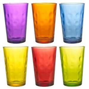 6 x Multi Coloured 240ml Drinking Glasses Set Dining Cups Water Juice Tumblers