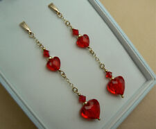 OOAK 9ct Gold long chain earrings, Swarovski elements Siam Red heart crystals
