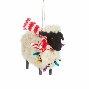 Sass & Belle Sheep in Scarf Hanging Christmas Decoration