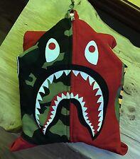 100% authentic Bape Red/Woodland Camo Shark Hoodie M Bapeland tiger #214