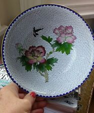 Vintage Cloisonne Bowl Peonies made in People's Republic China STUNNING!