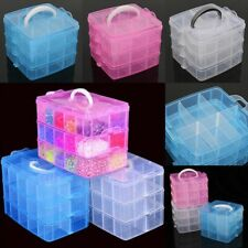 3-Layers Compartments Clear Plastic Storage Box Jewelry Bead Organizer Container