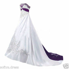 White And Purple Plus Size Satin Wedding Dresses Embroidery Beaded Bridal Gown