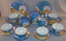 Vintage 23 Piece Lusterware Dishes Tea Set Iridescent Blue Cottage Scene Nippon