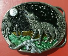 The Great American Buckle Company H517 Bark At The Moon Howling Wolf Belt Buckle