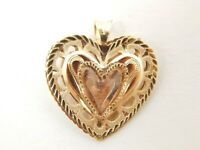 Pretty 14K Rose & Yellow Gold Filigree Heart Pendant
