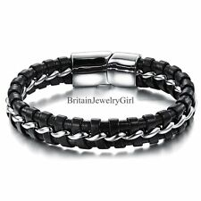 "8"" Mens Black Leather Braided Cuff Bracelet Silver Tone Stainless Steel Bangle"