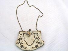 Vtg Handmade In Belgium White & Brown Beaded Coin Purse Evening Bag w/ Cameo