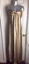 NWT BCBG Max Azria- ANTIQUE GOLD- EMPIRE WAIST SILK SATIN- Long Dress SZ 10
