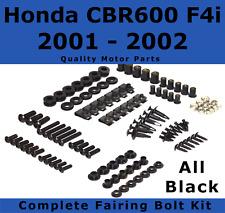 Complete Black Fairing Bolt Kit body screws for Honda CBR 600 F4i 2001 - 2002