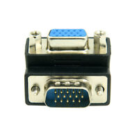 Cablecc Down Right Angled 90 Degree RGB 15P VGA Male to Female Extension Adapter