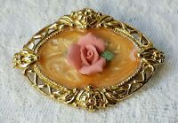 VINTAGE Flower ENAMEL Pin GOLD FRAME Pink ROSE ART DECO STYLE Sweet!