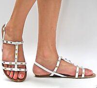 New Women TO21 Black Tan White Studded Strappy Flat Gladiator Sandal sz 6 to 10