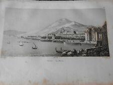 1837 INCISIONE AUDOT PALERMO LA MARINA BELLISSIMA SICILIA