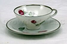 Hutschenreuther Selb China Silver Rim Rose Tea Cup and Saucer - Made in Germany
