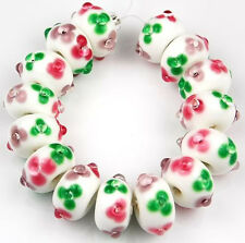 HANDMADE LAMPWORK GLASS BEADS White Green Pink Amethyst Flower Loose Craft