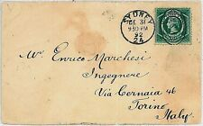 NEW SOUTH WALES -  POSTAL HISTORY:  COVER to ITALY w/arrival cancel 1892