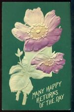 Heavy Embossed MANY HAPPY RETURNS OF THE DAY Postcard