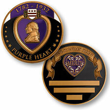 U.S. Military / Purple Heart - Engravable Brass Challenge Coin