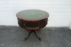 Flame Mahogany Leather Top Round Center Side Lamp Table 1257