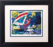 "LeRoy Neiman ""Wind Surfing "" Custom Framed Art New Surf Ocean Windsurfing"