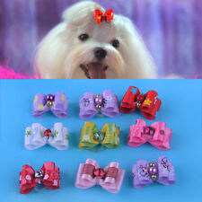 10x Rhinestone Ribbon Assorted Hair Bows Bowknot For Dog Cat Pet Grooming Accy