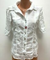 ELISA CAVALETTI size M / L 34%LINEN Blouse Top Shirt White EMbellished Embroider