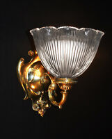 Rare Victorian Tudor style arts & crafts wall light scone large Holophane shade
