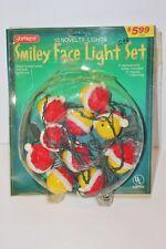 Vintage Smiley Face w/Santa Hats JoyBrite Light Set still in package