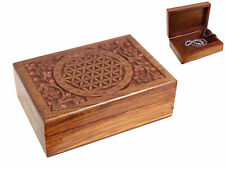 FLOWER OF LIFE WOODEN CARVED  JEWELLERY / TRINKET BOX 18CM X 13CM