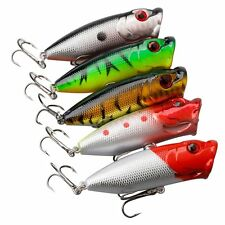 5 pcs Fishing lures Baits Floating Bass Crankbaits Popper Hard Lures Hooks
