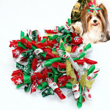 20/100pcs Christmas Pet Hair Bows Xmas Dog Cat Rubber Band Hair Clip Accessories
