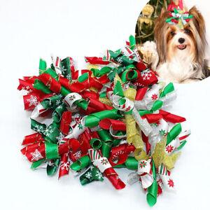 20/100pcs Christmas Pet Hair Bows Xmas Dog Cat Rubber Band Hair Clip Accessories