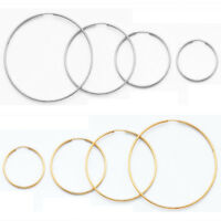 Polish Plain Round Large Hoop 1.5mm Endless Post Earrings 14k Yellow White Gold