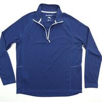 Tommy Bahama Mens M Pullover Long Sleeve 1/2 Zip Swordfish Logo Blue