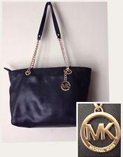 MICHAEL KORS Bag Black Leather Tote Shoulder Gold Chain Strap Top Zip Logo Purse
