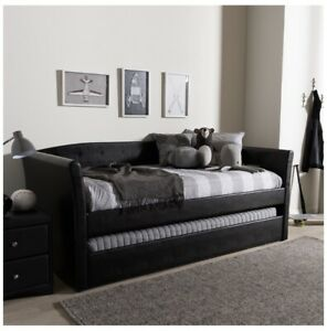 Baxton Studio Camino Faux Leather Daybed with Trundle in Black Perfect Gift