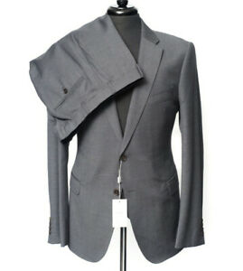 Armani Collezioni M Line Navy Gray Tic-Weave Slim-Fit Suit 56 fits 44 / 42 R