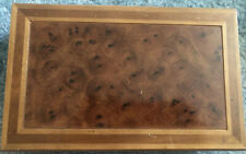 VTG Antique London Leather Inlaid Eye Wood Jewelry Box Hinged Velvet Tray Valet