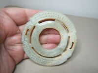 OLD CHINESE CARVED NEPHRITE JADE BI DISC SCULPTURE   SN120