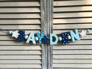 """JAYDEN"" BLUE WOODEN LETTERS BABYNAME NURSERY DECOR PERSONALIZED NAME SHABBY"