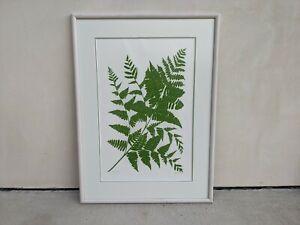 Beautiful Framed Signed Dated 1977 Henry Evans Linocut Fern #79/230