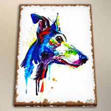 Art Print on Canvas Colorful Greyhound for Room Decor Watercolor Painting 24x28