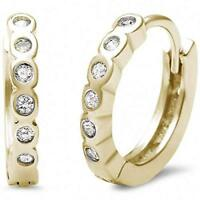 Genuine Diamond Bezel Huggie Hoop Earrings - 14k Yellow Gold/Sterling Silver