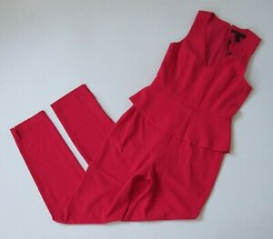 NWT BCBG MaxAzria Cerys in Lipstick Red Crepe Slim Leg Peplum Jumpsuit 10 x 30